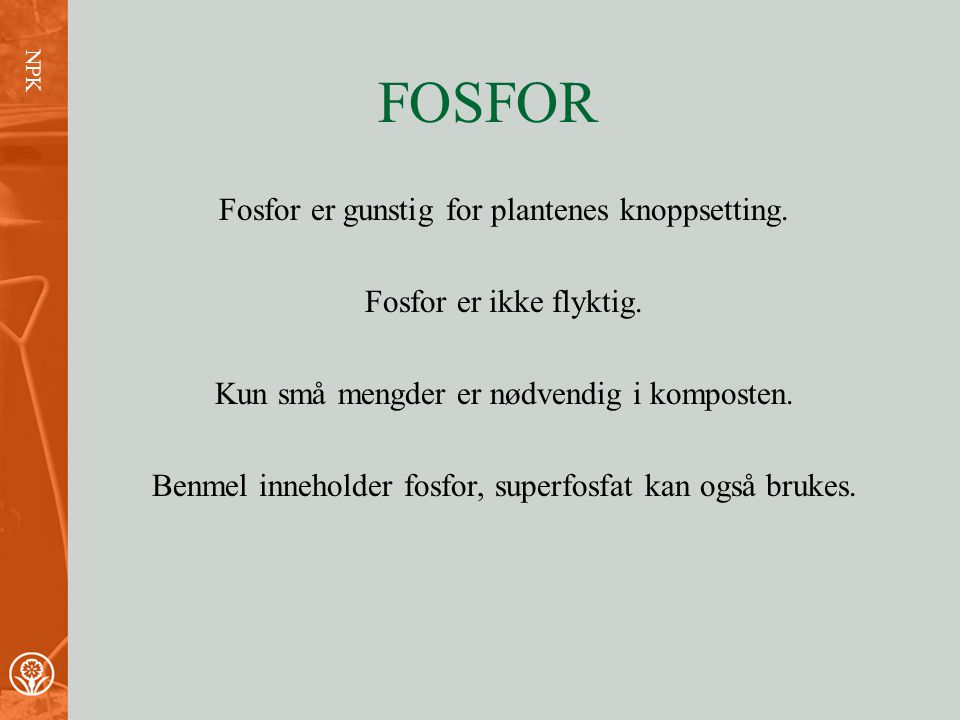 FOSFOR Fosfor er gunstig for plantenes knoppsetting.