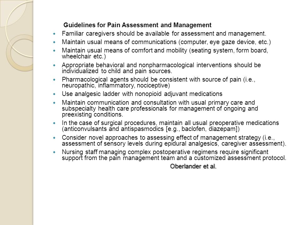 Guidelines for Pain Assessment and Management
