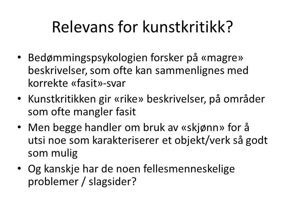 Relevans for kunstkritikk