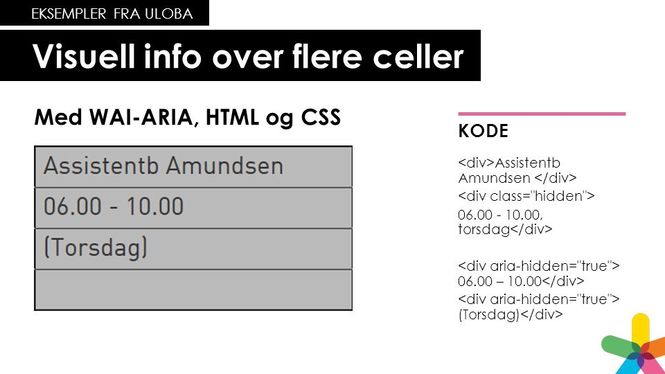 Visuell info over flere celler