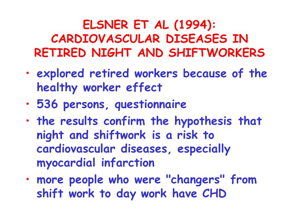 ELSNER ET AL (1994): CARDIOVASCULAR DISEASES IN RETIRED NIGHT AND SHIFTWORKERS