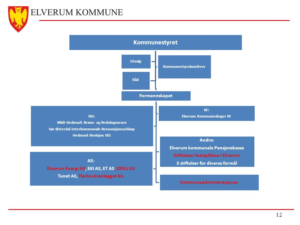 Kommunestyret AS: Elverum Energi AS, EKI AS, ET AS, ERNU AS