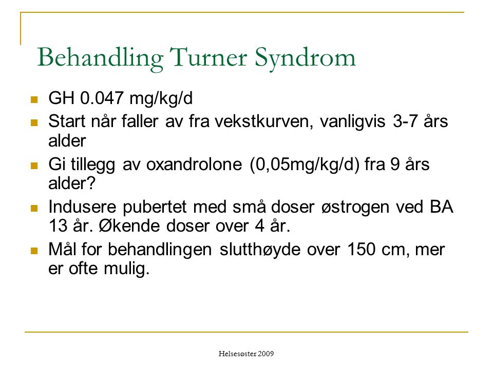 Behandling Turner Syndrom