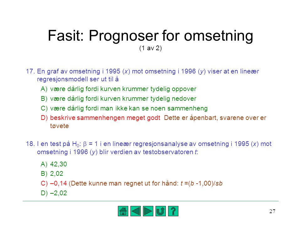 Fasit: Prognoser for omsetning (1 av 2)