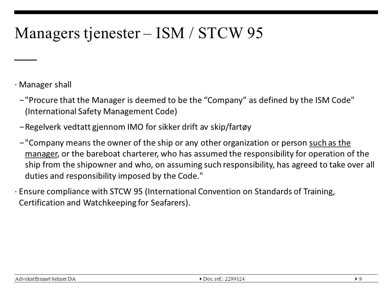 Managers tjenester – ISM / STCW 95