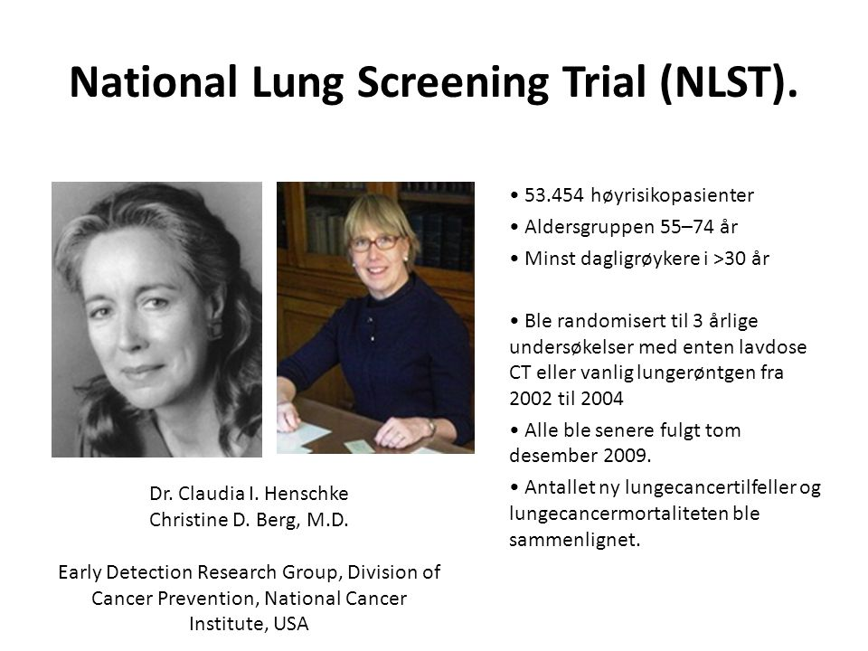 National Lung Screening Trial (NLST).