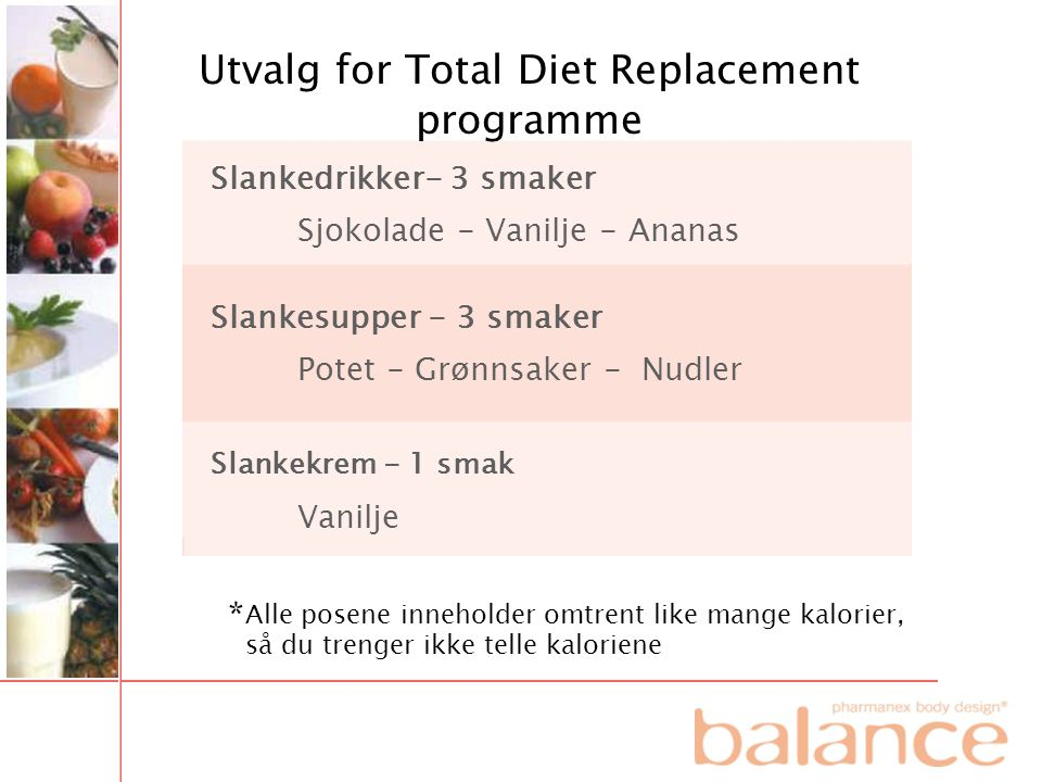 Utvalg for Total Diet Replacement programme
