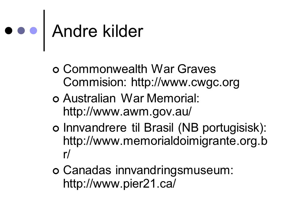 Andre kilder Commonwealth War Graves Commision: