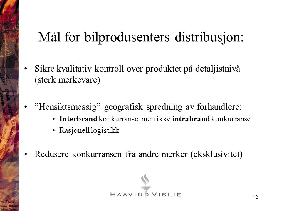 Mål for bilprodusenters distribusjon: