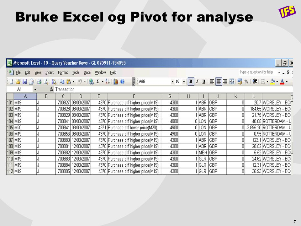 Bruke Excel og Pivot for analyse