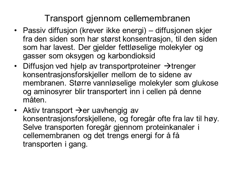 Transport gjennom cellemembranen