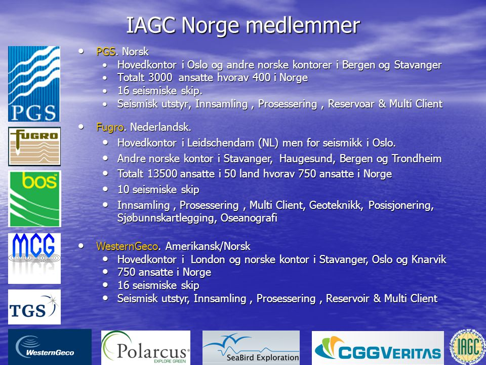 IAGC Norge medlemmer PGS. Norsk