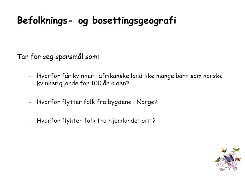 Befolknings- og bosettingsgeografi