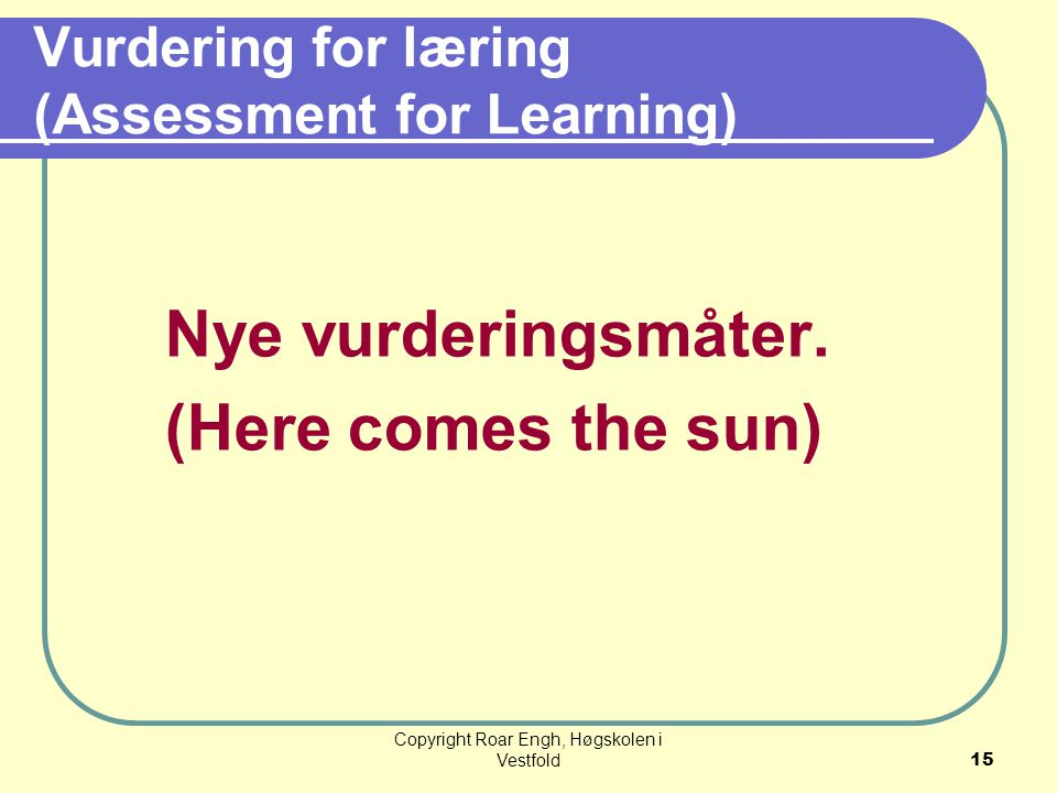 Vurdering for læring (Assessment for Learning)