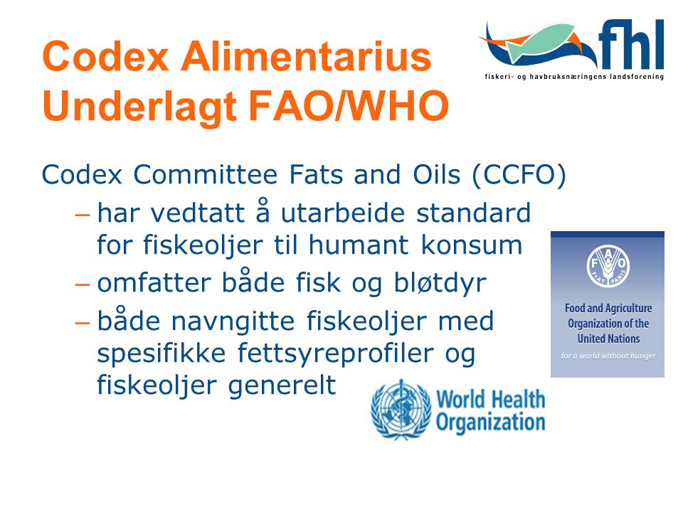 Codex Alimentarius Underlagt FAO/WHO