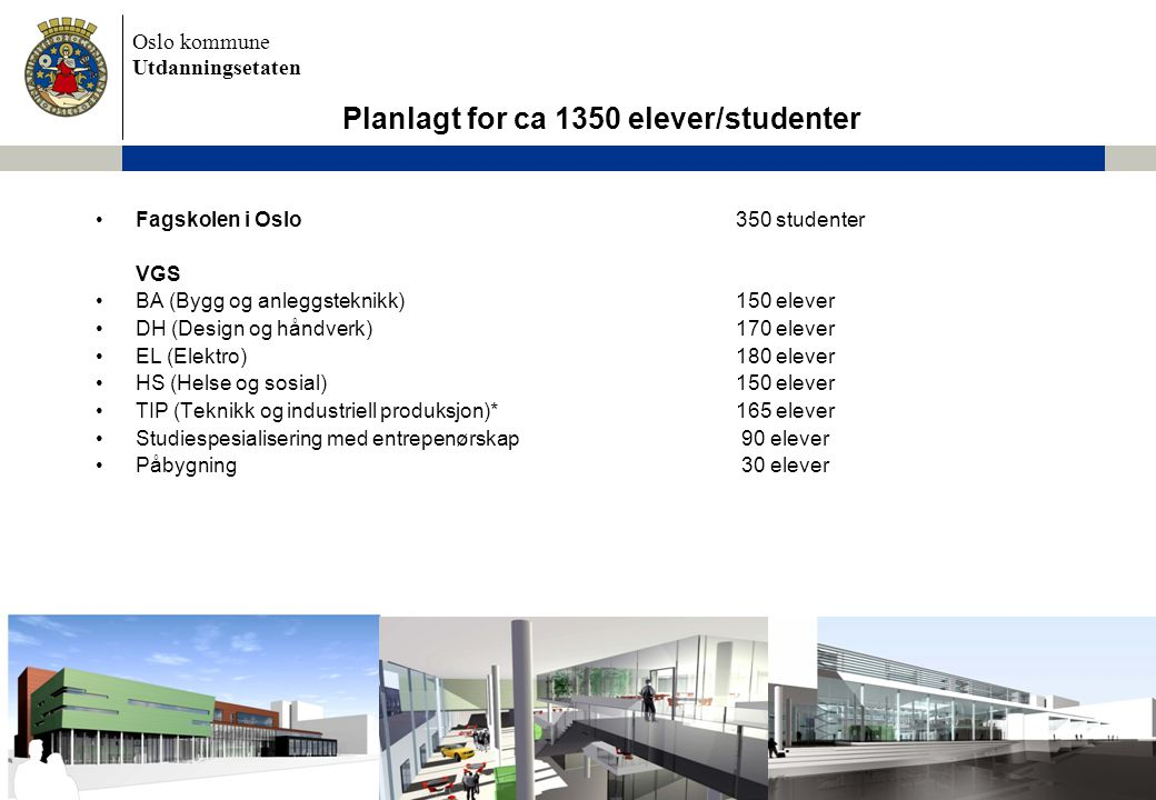 Planlagt for ca 1350 elever/studenter