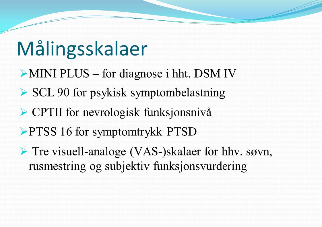 Målingsskalaer MINI PLUS – for diagnose i hht. DSM IV