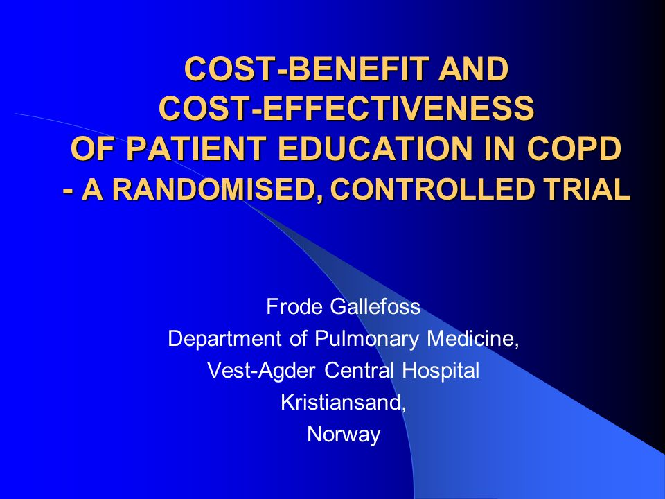 COST-BENEFIT AND COST-EFFECTIVENESS OF PATIENT EDUCATION IN COPD - A RANDOMISED, CONTROLLED TRIAL