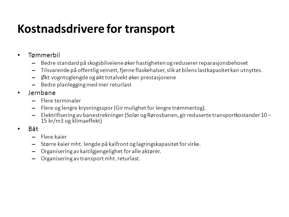 Kostnadsdrivere for transport