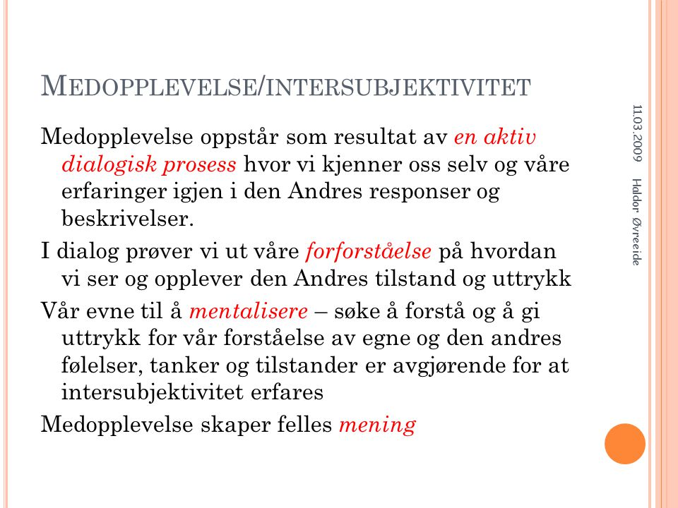 Medopplevelse/intersubjektivitet