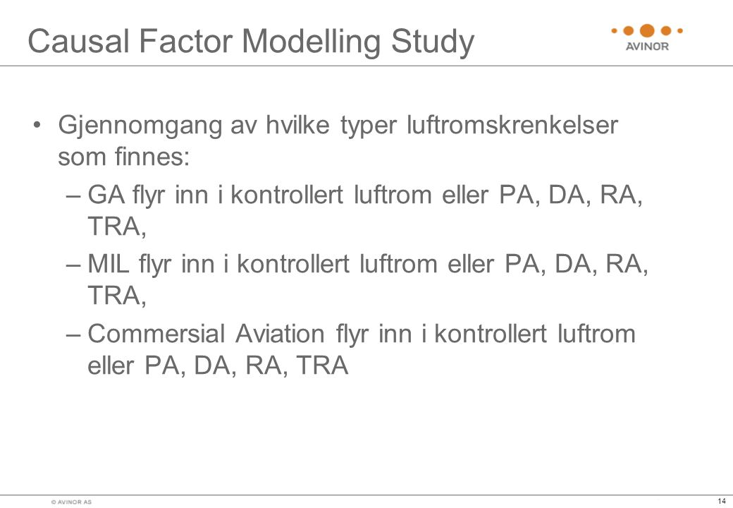 Causal Factor Modelling Study