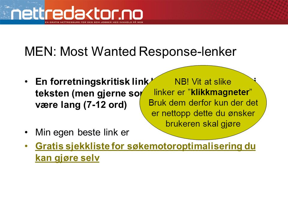 MEN: Most Wanted Response-lenker