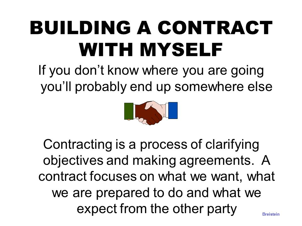 BUILDING A CONTRACT WITH MYSELF