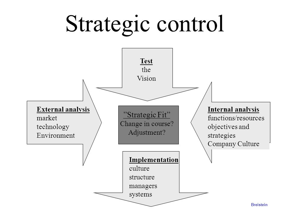 Strategic control Strategic Fit Test the Vision Change in course