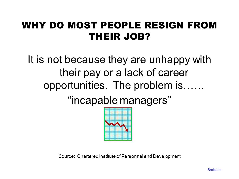 WHY DO MOST PEOPLE RESIGN FROM THEIR JOB