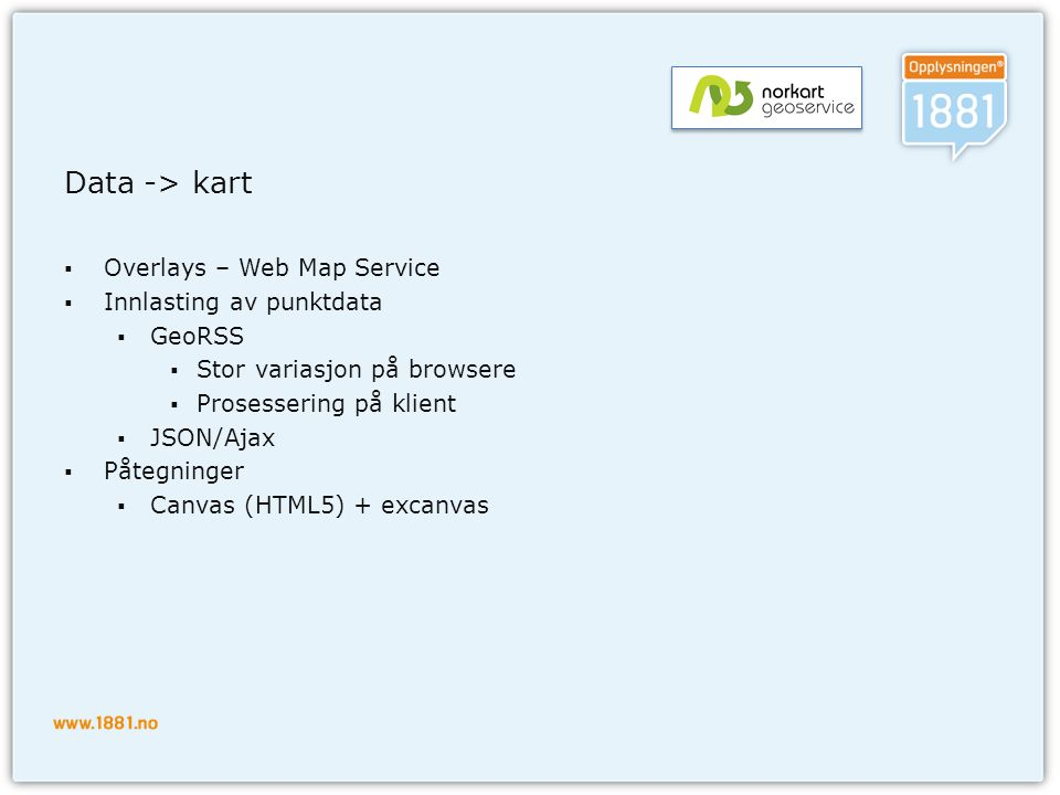 Data -> kart Overlays – Web Map Service Innlasting av punktdata