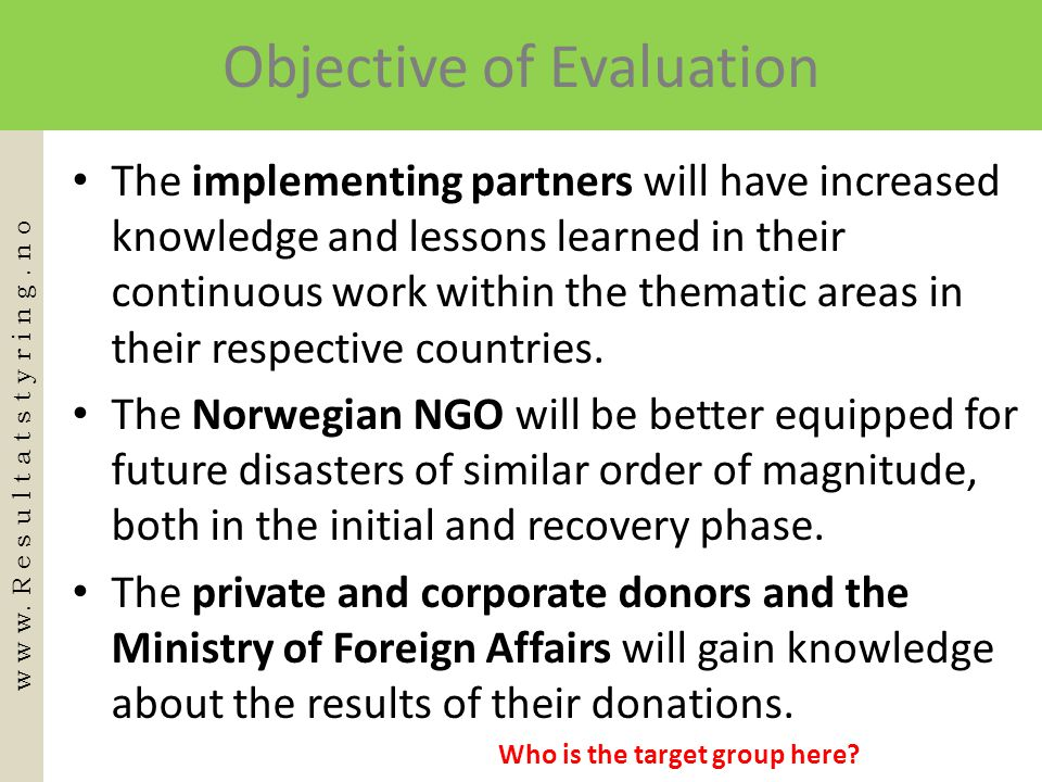 Objective of Evaluation