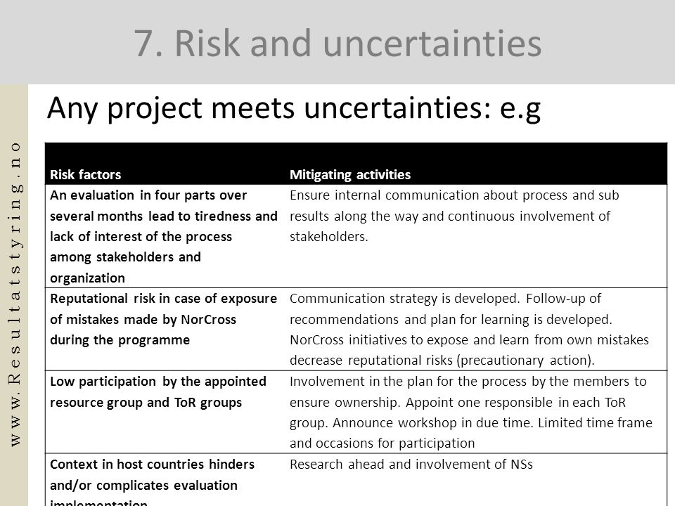 7. Risk and uncertainties