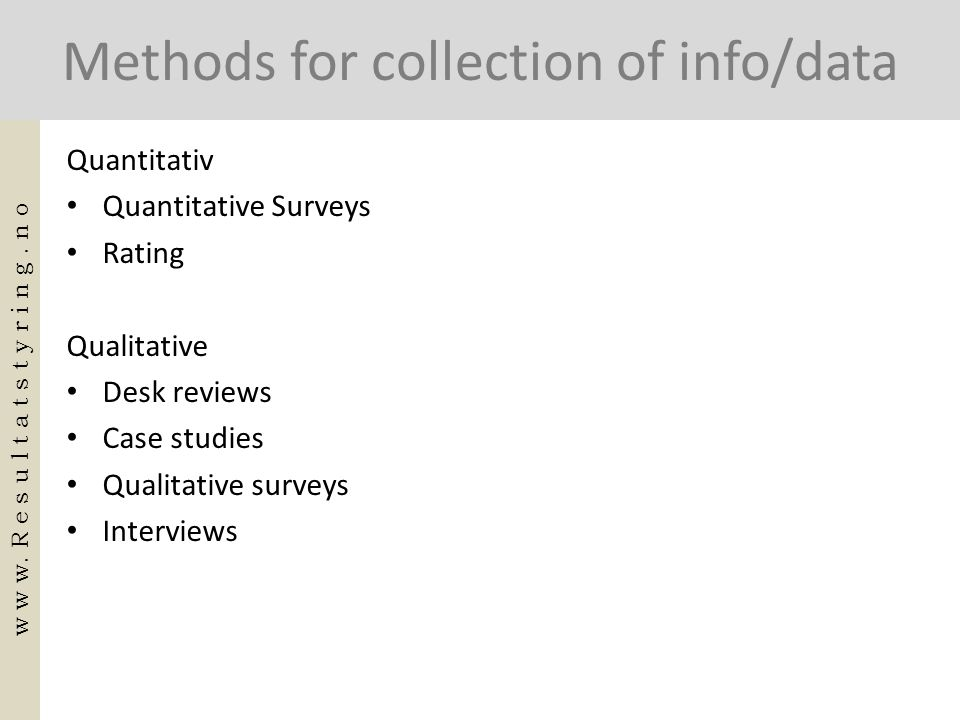 Methods for collection of info/data