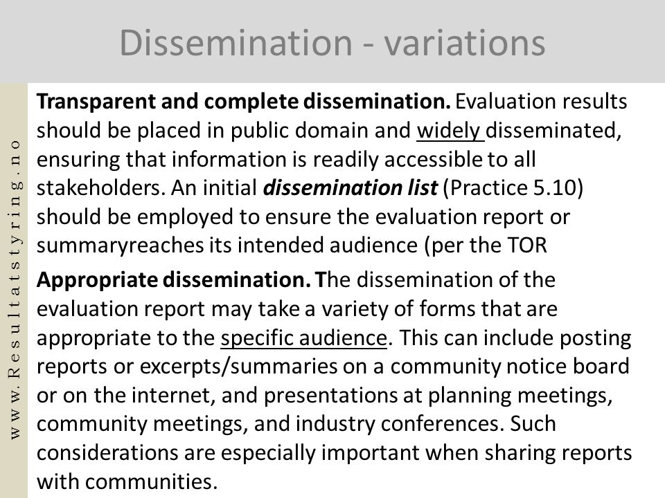 Dissemination - variations