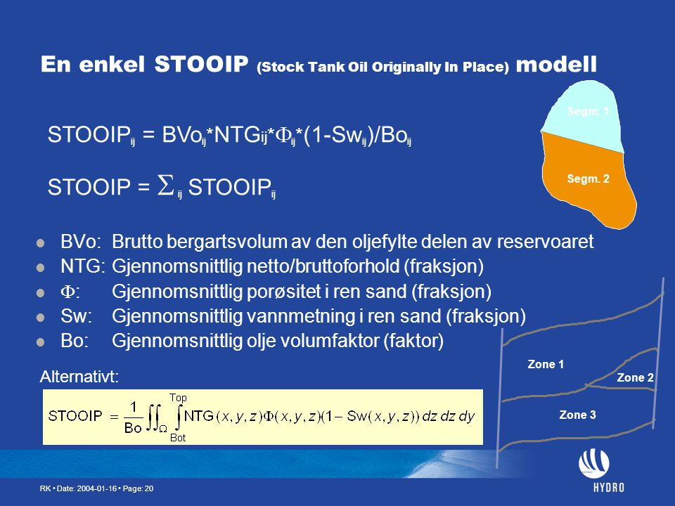 En enkel STOOIP (Stock Tank Oil Originally In Place) modell