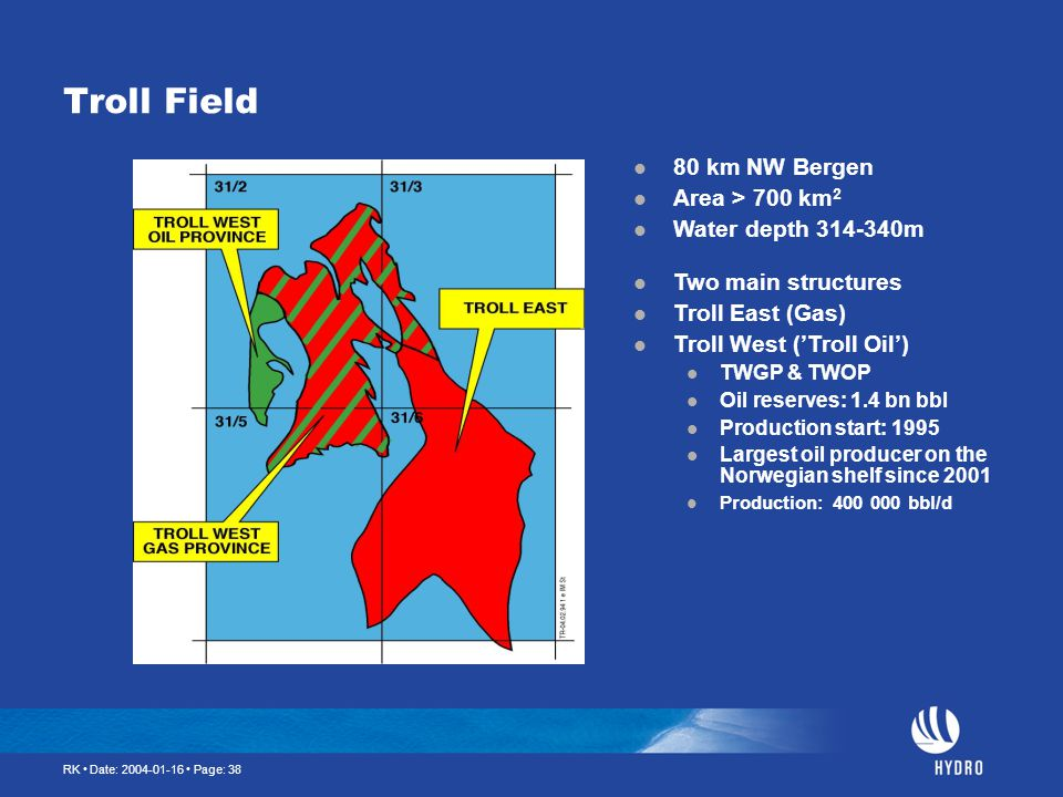 Troll Field 80 km NW Bergen Area > 700 km2 Water depth m