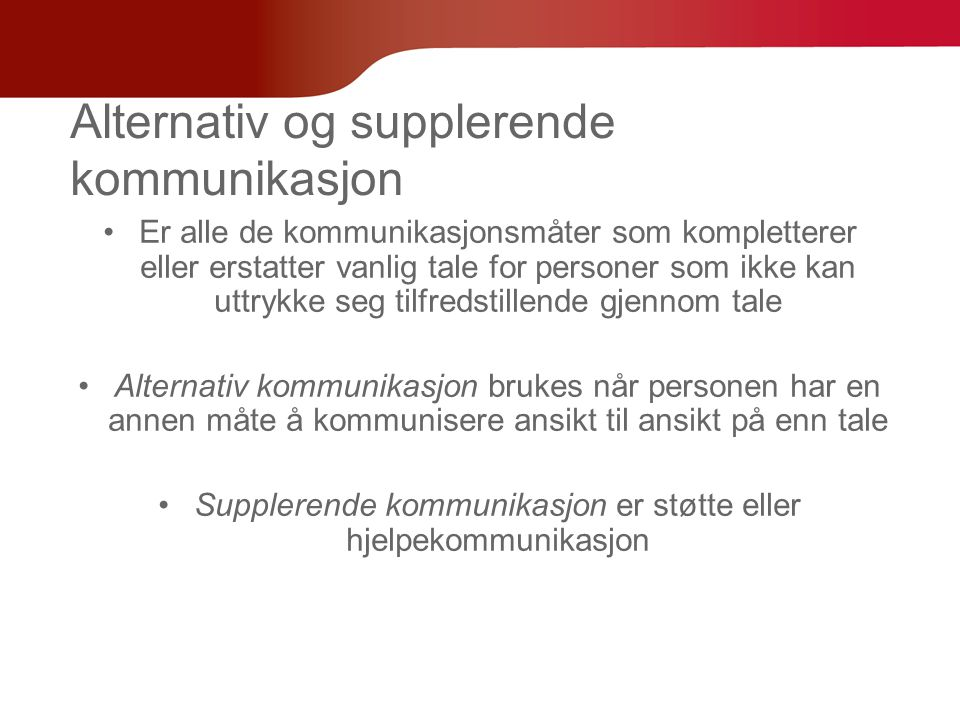 Alternativ og supplerende kommunikasjon