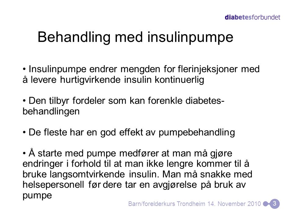 Behandling med insulinpumpe