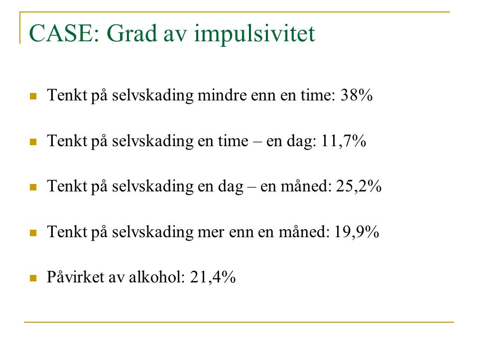 CASE: Grad av impulsivitet