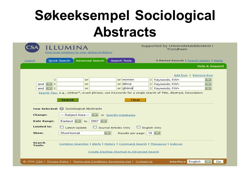 Søkeeksempel Sociological Abstracts