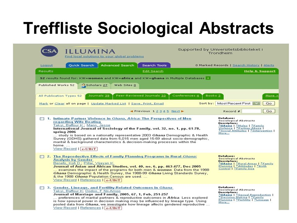Treffliste Sociological Abstracts