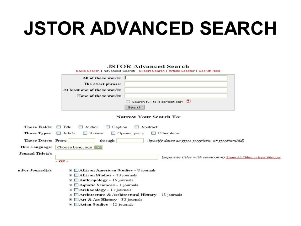 JSTOR ADVANCED SEARCH