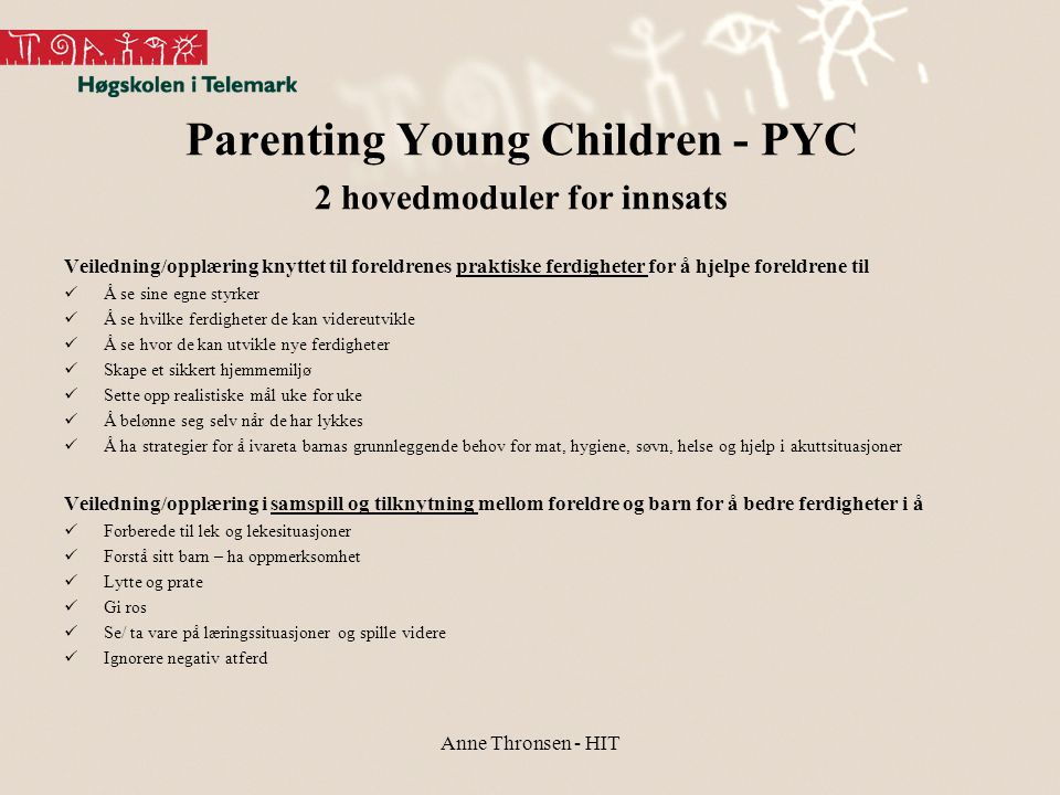 Parenting Young Children - PYC 2 hovedmoduler for innsats