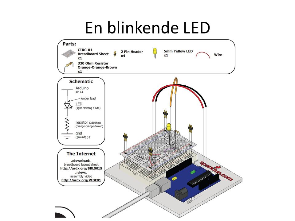 En blinkende LED