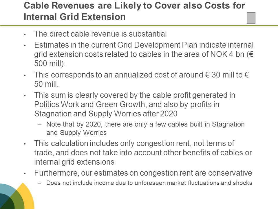 Cable Revenues are Likely to Cover also Costs for Internal Grid Extension