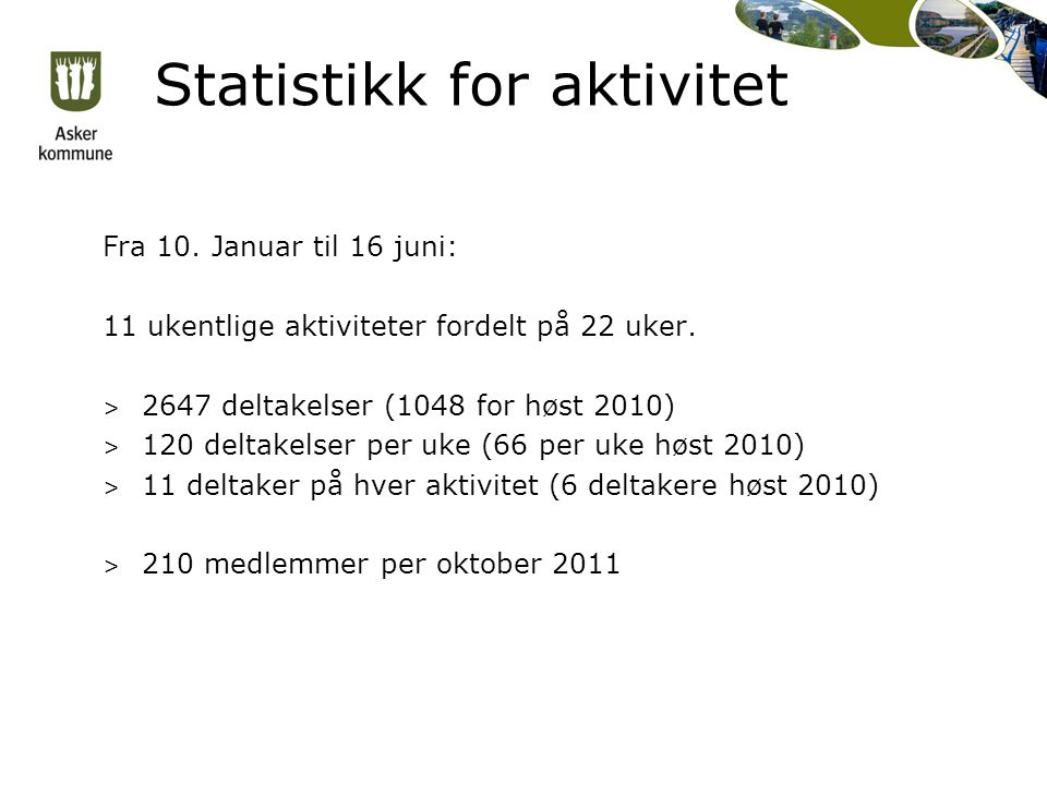 Statistikk for aktivitet