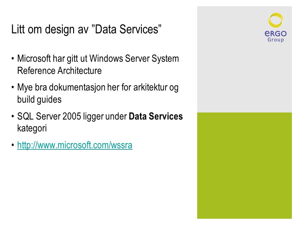 Litt om design av Data Services