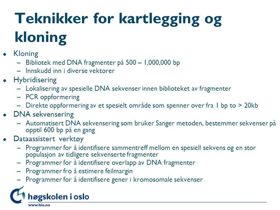 Teknikker for kartlegging og kloning
