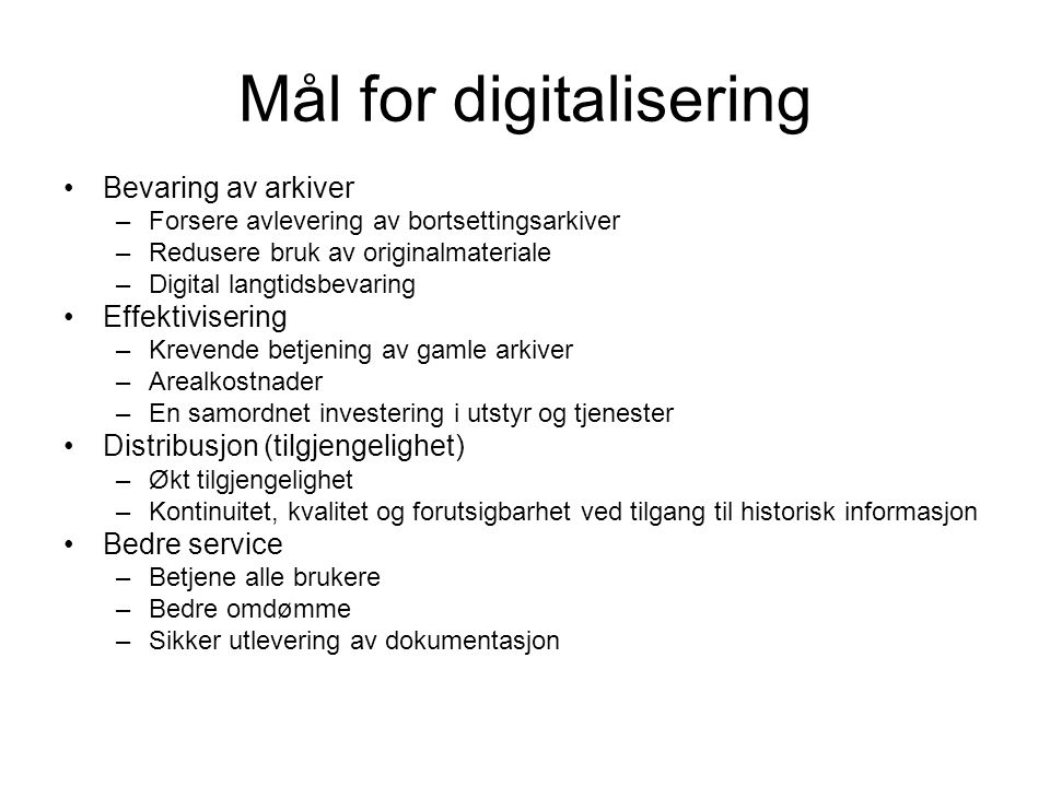Mål for digitalisering