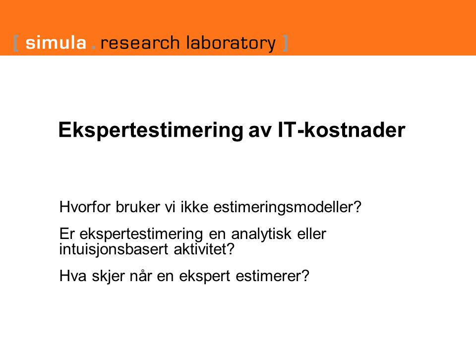 Ekspertestimering av IT-kostnader